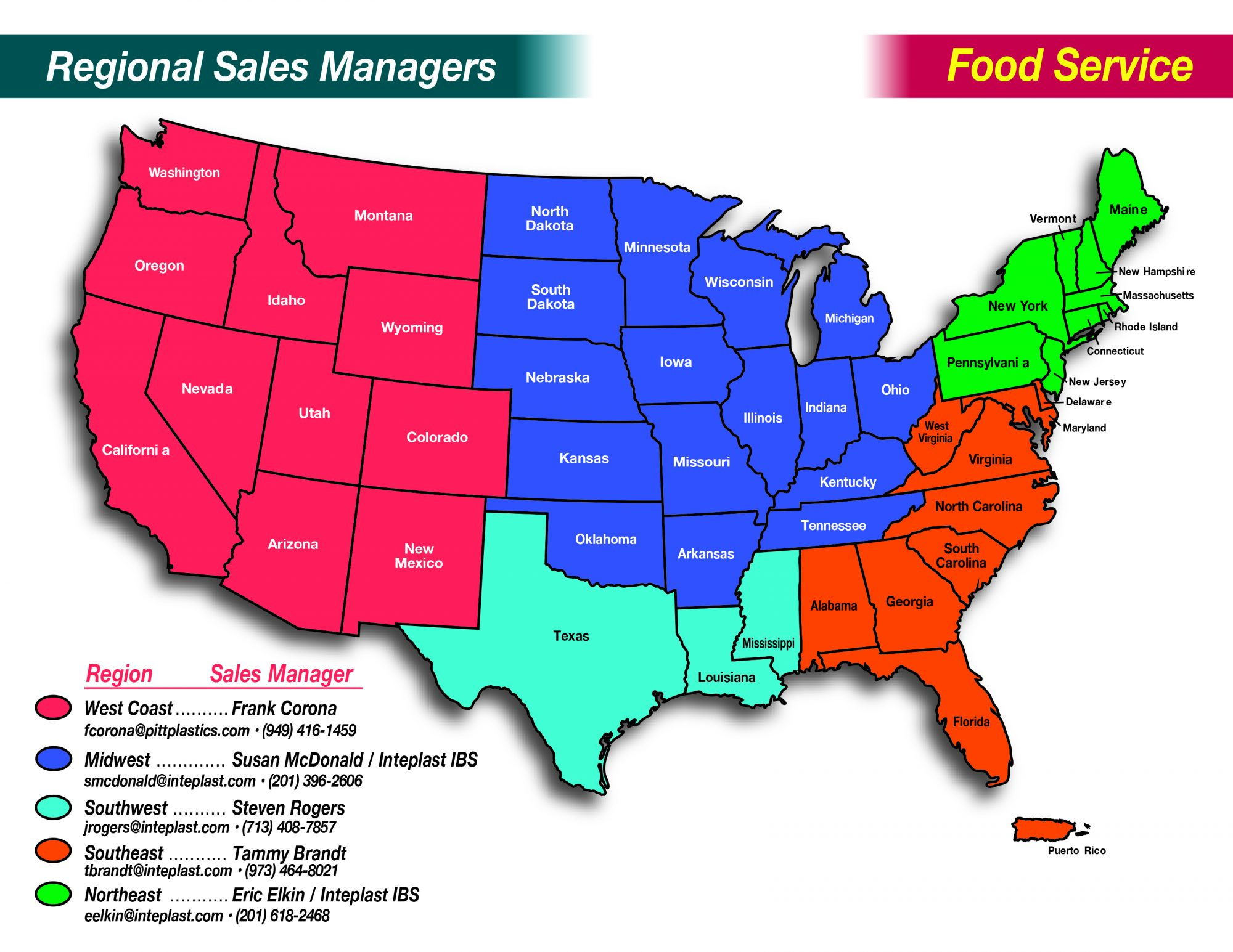 Trinity Regional Sales Managers Map